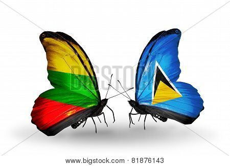 Two Butterflies With Flags On Wings As Symbol Of Relations Lithuania And Saint Lucia