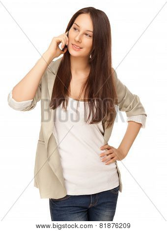 Beautiful Young Woman Calling By Phone