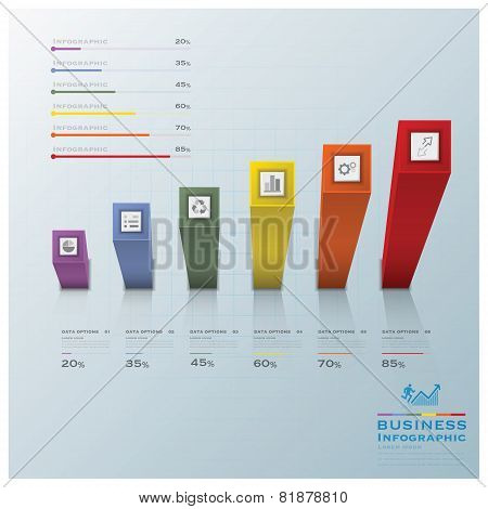 Modern Square Bar Diagram Business Infographic
