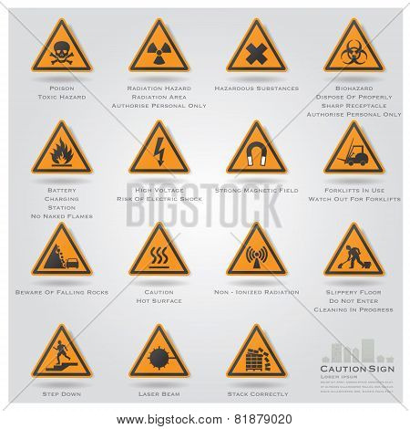 Caution And Warning Sign Icons Set