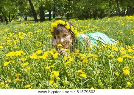 Lady In Wreath Of Dandelions