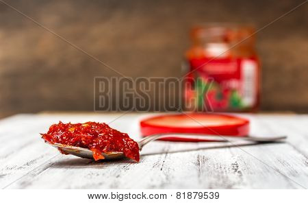 Minced hungarian pepper paste