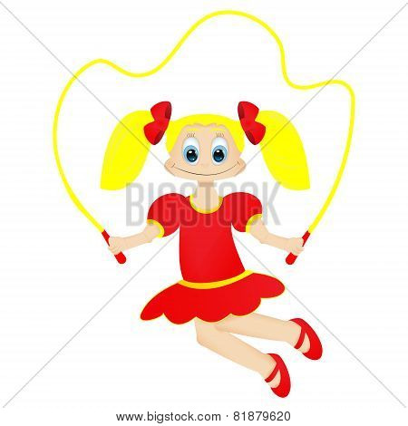 Cute Happy Little Girl With Jumping Rope