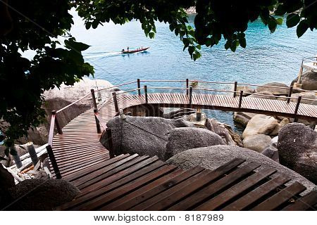 Wooden Pathway At Koh Tao Island
