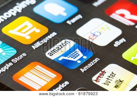 Background Close Up Of Shopping Apps On A Smartphone