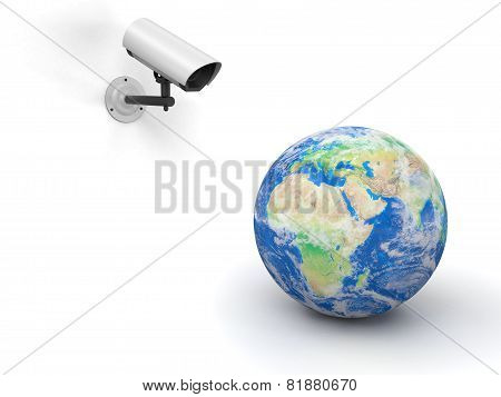 security camera and globe