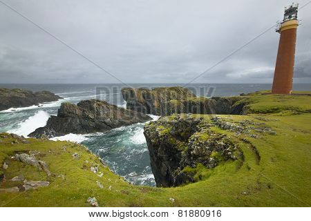 Scottish Coastline Landscape With Lighthouse. Butt Of Lewis. Scotland