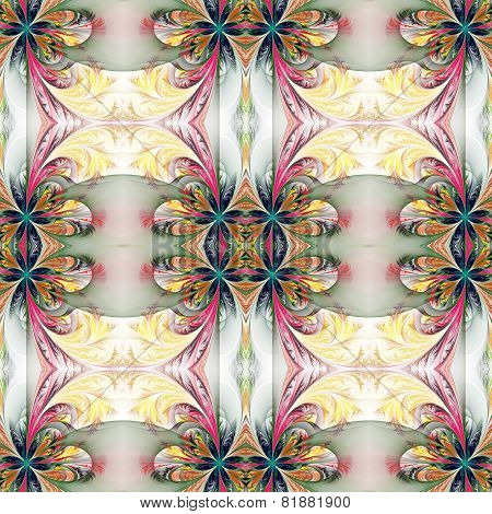 Beautiful Symmetrical Background From Fractal Tracery. On White.