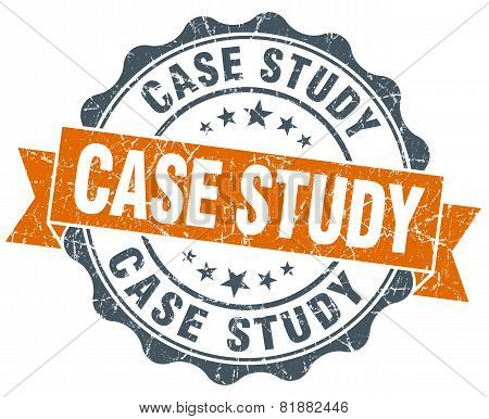 Case Study Orange Vintage Seal Isolated On White