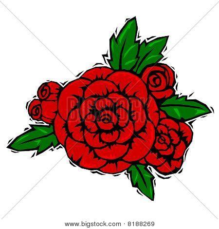Woodcut Roses