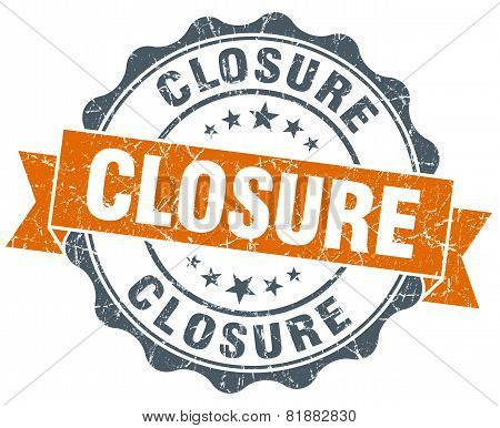 Closure Orange Vintage Seal Isolated On White