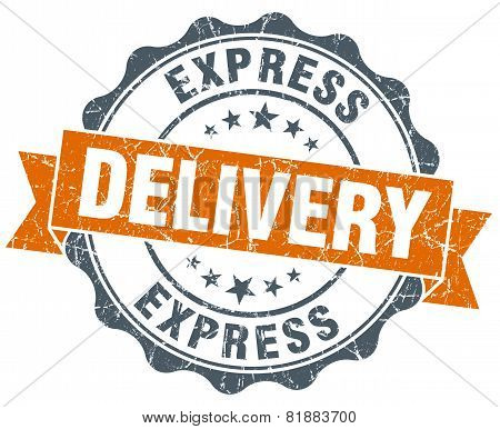 Express Delivery Orange Vintage Seal Isolated On White