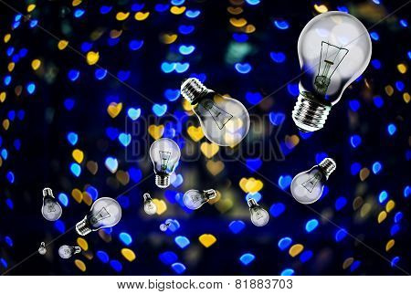 Light Bulbs  Fly With Heart Shape Bokeh Background