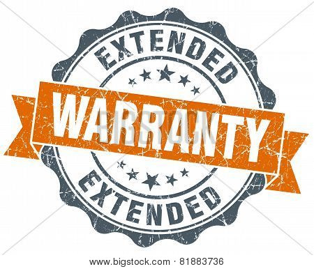 Extended Warranty Orange Vintage Seal Isolated On White