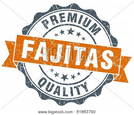 Fajitas Orange Vintage Seal Isolated On White