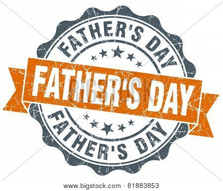 Father's Day Orange Vintage Seal Isolated On White