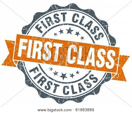 First Class Orange Vintage Seal Isolated On White