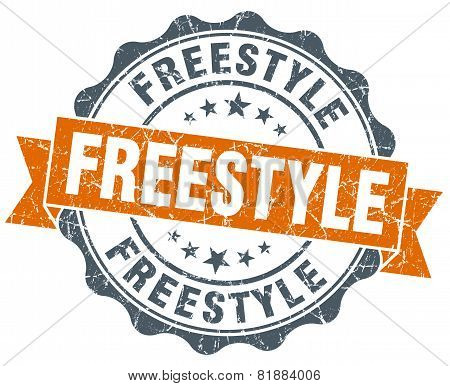 Freestyle Orange Vintage Seal Isolated On White