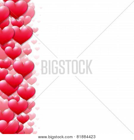 Valentines Day card with scattered purple hearts