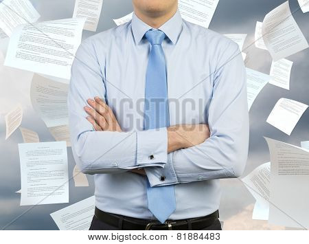 Man And Falling Papers