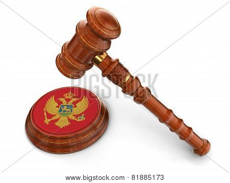 Wooden Mallet and Montenegro flag (clipping path included)