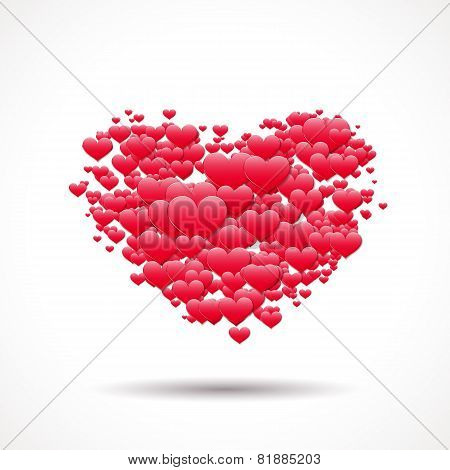Valentine's Day card with heart shape made of scattered symbols of love