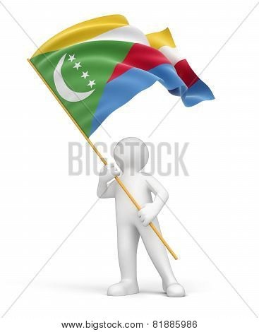 Man and Comoros flag (clipping path included)