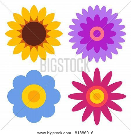 Flower Icon Set - Sunflower, Chrysanthemum, Daisy And Gerber