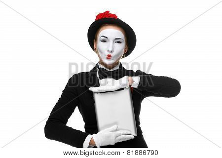 mime holding tablet PC