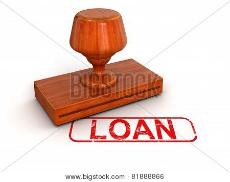 Rubber Stamp loan  (clipping path included)