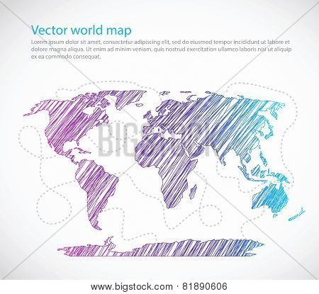 Bright world map seaway template vector