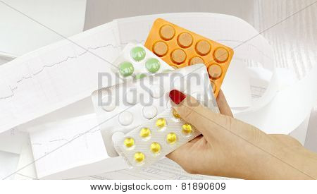 Different Pharmaceutical Tablets In Women's Hand