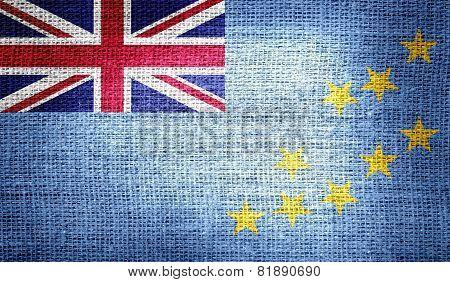 Tuvalu flag on burlap fabric