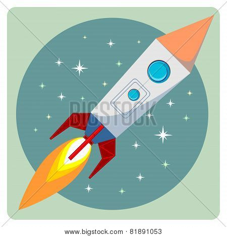 Cartoon Flying Rocket with porthole and Flames in space - Stock Vector illustration