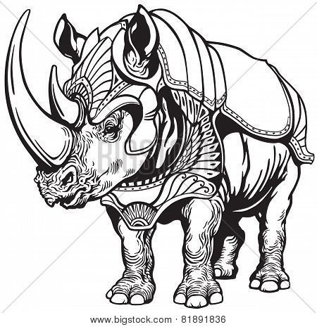 rhino in the armor black white