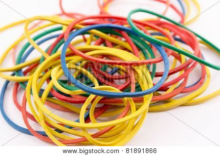 Close up of rubber different multicolored bands