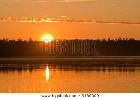 Sunset over lake