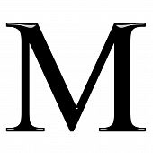 image of letter m  - 3d Greek letter My isolated in white - JPG