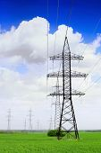 stock photo of transmission lines  - Power Transmission Line in outdoor land view - JPG