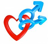 stock photo of gay symbol  - Gay love concept of two male gender symbols attached to a red heart shape - JPG