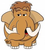 foto of mammoth  - vector illustration of a cartoon mammoth on white background - JPG