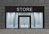 picture of department store  - Modern Empty Store Front with Big Windows - JPG
