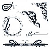 image of decorative  - Decorative elements and vintage frame set in art nouveau style - JPG