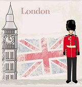 image of beefeater  - Grunge banner with Big Ben and sentry in London   - JPG