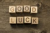 stock photo of cube  - Good Luck text on a wooden cubes - JPG