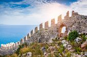 stock photo of landscape architecture  - The wall of an ancient fortress on the hill in Alanya Turkey - JPG