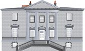 picture of ionic  - An English Country House built in the Palladian Style with ionic pillars and portico and an ornate staircase isolated on white - JPG