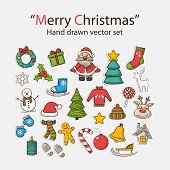 stock photo of christmas wreath  - Vector Merry Christmas hand drawn set - JPG