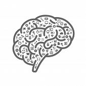 picture of neurology  - Silhouette of the brain with icons on white background - JPG