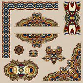 picture of adornment  - set of paisley floral design elements for page decoration - JPG